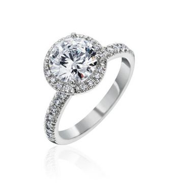 Gumuchian Bridal 18k White Gold Cinderella Halo Diamond Semi-Mount Engagement Ring