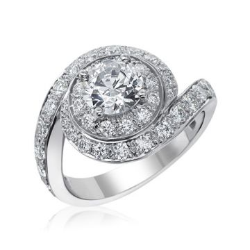 Gumuchian Bridal 18k White Gold Diamond Semi-Mount Swirl Engagement Ring