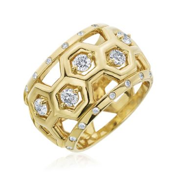 "Gumuchian 18k Yellow Gold Honeybee ""B"" Diamond Ring"