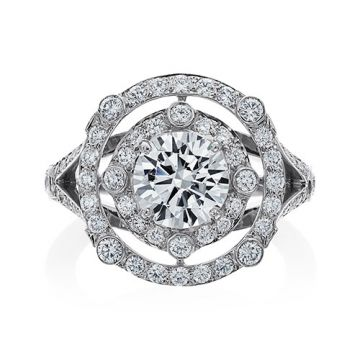 Gumuchian Carousel Platinum Diamond Illusion Halo Semi-Mount Engagement Ring