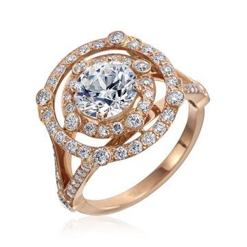 Gumuchian Carousel 18k Rose Gold Diamond Illusion Halo Semi-Mount Engagement Ring