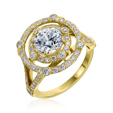 Gumuchian Carousel 18k Yellow Gold Diamond Illusion Halo Semi-Mount Engagement Ring