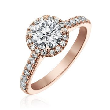 Gumuchian Bridal 18k Rose Gold Cinderella Halo Diamond Semi-Mount Engagement Ring