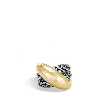 John Hardy Sterling Silver & 18k Yellow Gold Classic Chain Ring