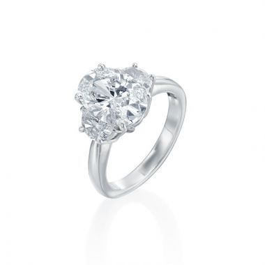 """3.03ct Oval Diamond Engagment Ring with Half Moon Accents, Rare """"D"""" Color"""