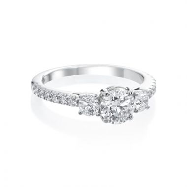 0.74ct Round Diamond Engagement Ring with Diamond Accents