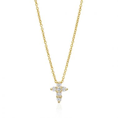 Roberto Coin 18k Yellow Gold Cross Diamond Pendant