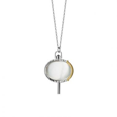 Monica Rich Kosann Oval Rock Crystal and Onyx Pocket Watch Key Pendant in 18K Gold and Sterling Silver