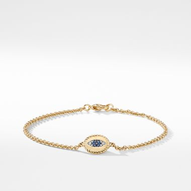 David Yurman Pave Cable Evil Eye Charm with Blue Sapphire, Diamonds and Black Diamonds in Gold