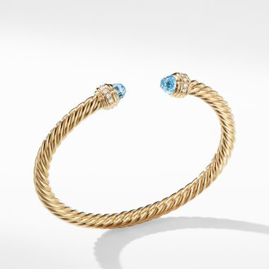 David Yurman Cable Bracelet in 18K Gold with Blue Topaz and Diamonds