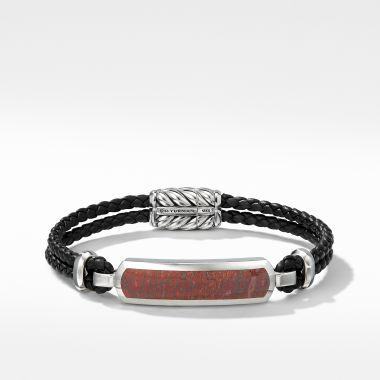 David Yurman Exotic Stone Bar Station Leather Bracelet with Red Agate
