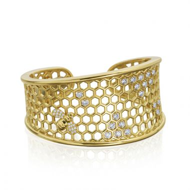 "Gumuchian 18k Yellow Gold Honeybee ""B"" Cuff Bracelet"