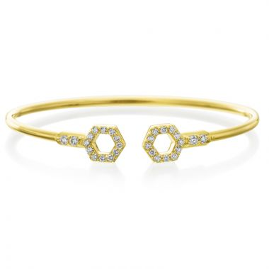 "Gumuchian 18k Yellow Gold Honeybee ""B"" Diamond Bangle Bracelet"