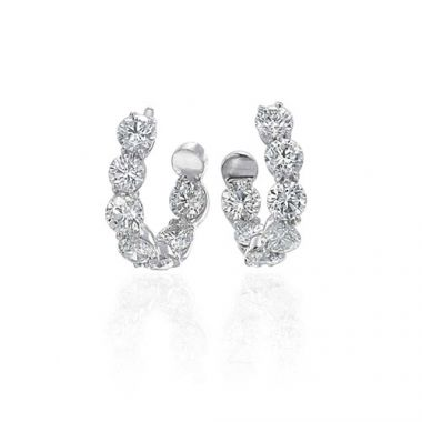 Gumuchian New Moon 18k White Gold Hoop Earrings