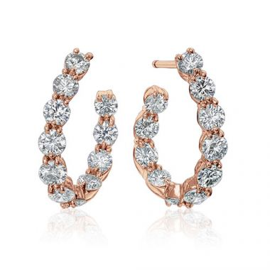Gumuchian New Moon 18k Rose Gold Hoop Earrings
