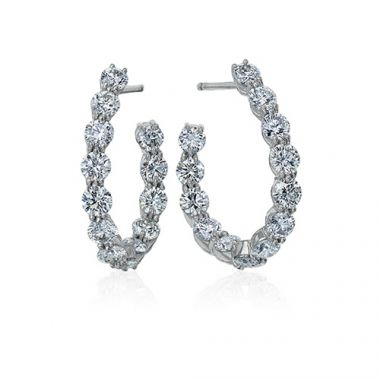 Gumuchian 18k White Gold Diamond Large New Moon Earrings