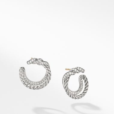 David Yurman Continuance Hoop Earrings with Diamonds