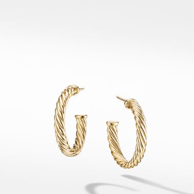 David Yurman Small Cablespira Hoop Earrings in 18K Yellow Gold