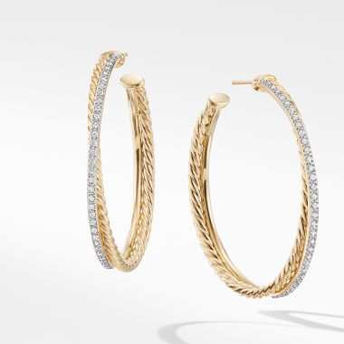 David Yurman Crossover XL Hoop Earrings in 18K Yellow Gold with Diamonds