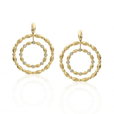 Gumuchian 18k Yellow Gold Nutmeg Double Diamond Circle Earrings