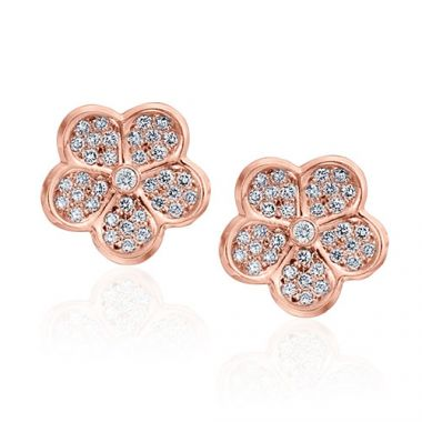Gumuchian G. Boutique 18k Rose Gold Diamond Lotus Earrings