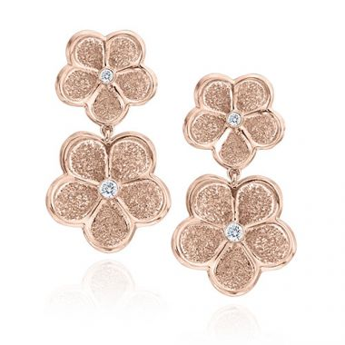 Gumuchian G. Boutique 18k Rose Gold Diamond Daisy Drop Earrings