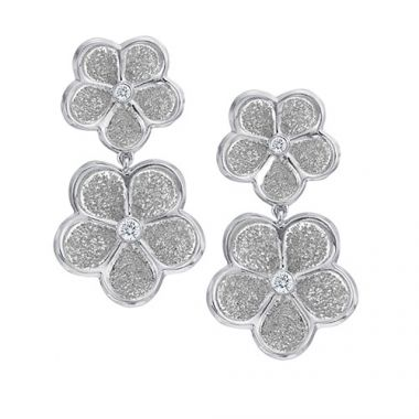 Gumuchian G. Boutique 18k White Gold Diamond Daisy Drop Earrings