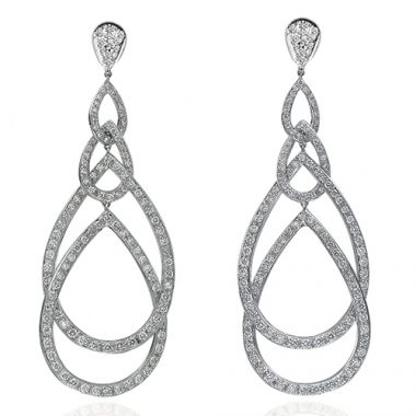 Gumuchian Peacock 18k White Gold Illusion Diamond Drop Earrings