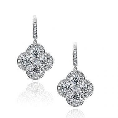 Gumuchian Fleur Platinum Diamond Drop Earrings