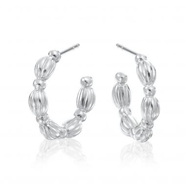 Gumuchian Nutmeg 18k White Gold Hoop Earrings