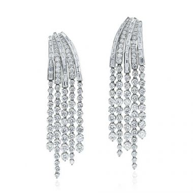 Gumuchian Cascade Riviera Platinum Diamond Fringe Drop Earrings