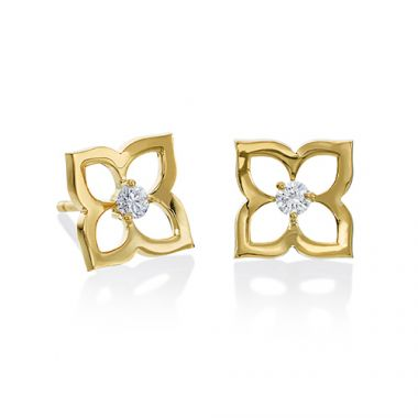 Gumuchian 18k Yellow Gold 0.14ct Gold Open Lotus Earrings