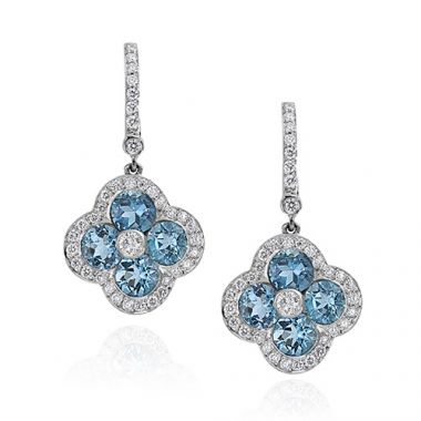 Gumuchian Platinum Diamond Aqua Fleur Earrings with Diamond Leverbacks