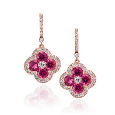 Gumuchian Platinum Diamond Rubelite Fleur Earrings with Diamond Leverbacks