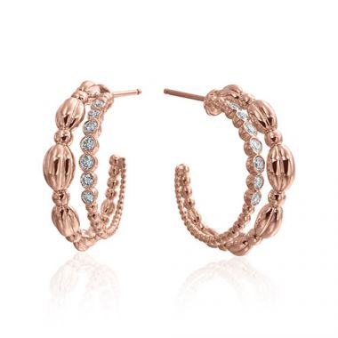 Gumuchian Nutmeg 18k Rose Gold Diamond Hoop Earrings