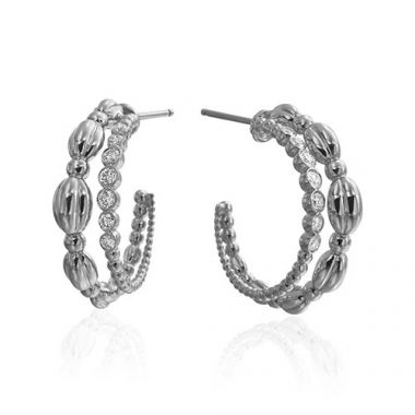 Gumuchian Nutmeg 18k White Gold Diamond Hoop Earrings