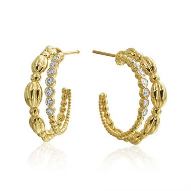 Gumuchian 18k Yellow Gold Diamond Nutmeg Double Hoop Earrings