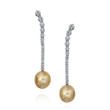 Gumuchian Cascade Riviera Platinum Diamond Pearl Drop Earrings