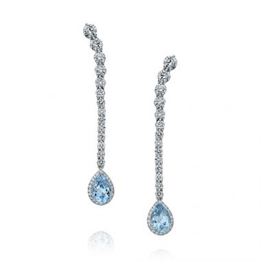 Gumuchian Cascade Riviera Platinum Diamond Aquamarine Pear Drop Earrings