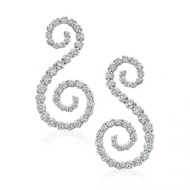 Gumuchian Cascade Riviera 18k White Gold Diamond Symphony Earrings