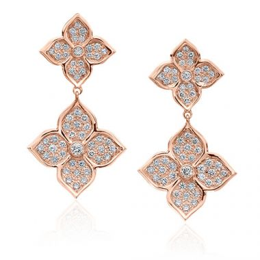 Gumuchian G. Boutique 18k Rose Gold Diamond Lotus Drop Earrings