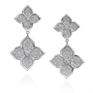 Gumuchian G. Boutique 18k White Gold Diamond Lotus Drop Earrings