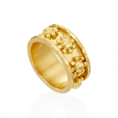 Elizabeth Locke 19k Yellow Gold Floral Ring
