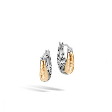 John Hardy Sterling Silver & 18k Yellow Gold Classic Chain Hoop Earrings