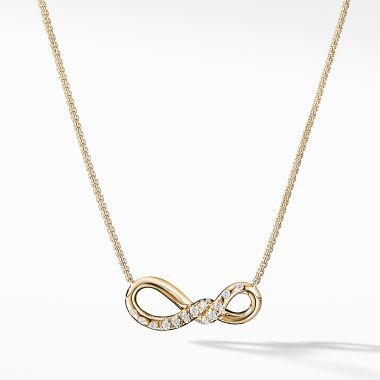 David Yurman Continuance Small Pendant Necklace with Diamonds in 18K Gold