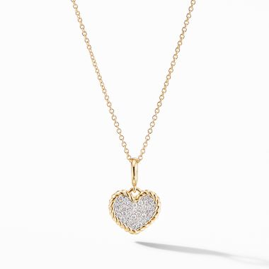 David Yurman Cable Collectibles® Pavé Plate Heart Charm Necklace in 18K Yellow Gold