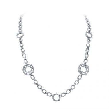 Gumuchian 18k White Gold Diamond Carousel Necklace