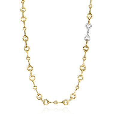 Gumuchian 18k Yellow Gold 1 White Gold Diamond Section Gallop Necklace
