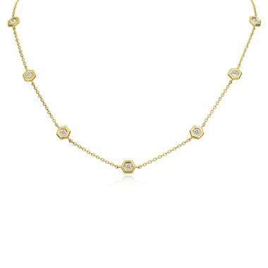"Gumuchian 18k Yellow Gold Honeybee ""B"" Diamond Necklace"