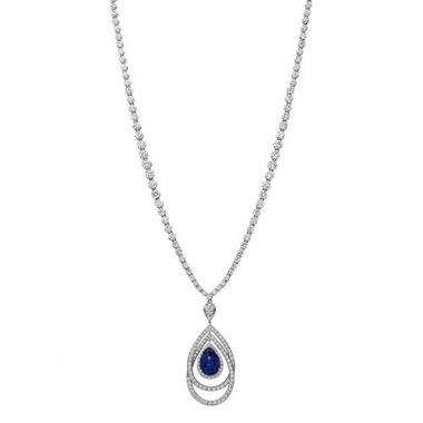 Gumuchian Cascade Riviera Platinum Diamond Sapphire Peacock Enhancer Drop Necklace